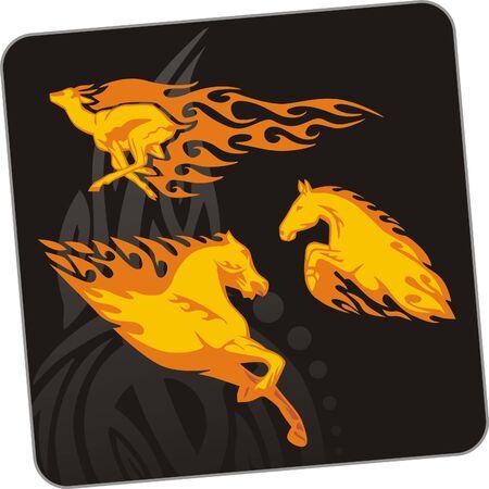 damhirsch: Damhirsch und Pferd. Illustration. F�r Vinyl-Cuttings bereit. Illustration