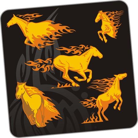 damhirsch: Das Pferd.  Illustration. F�r Vinyl-Cuttings bereit.