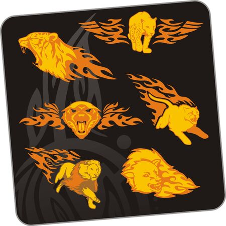 Tiger and lion. illustration. Ready for vinyl cutting. Vector