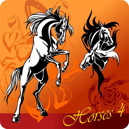 Flaming Horses. Illustration.Vinyl Ready.