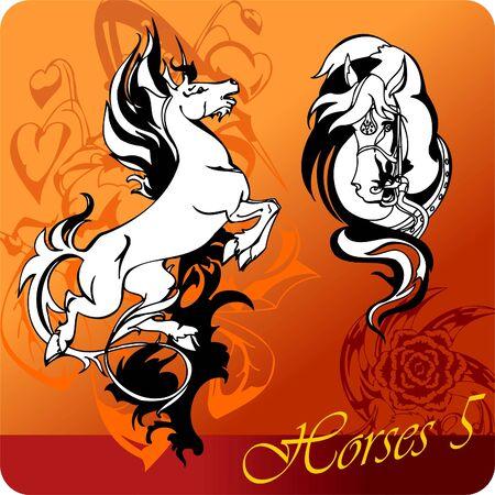 Flaming Horses.  Illustration.Vinyl Ready.  Vector