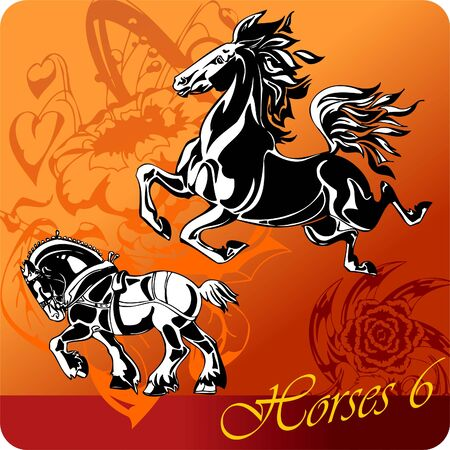 Flaming Horses.  Illustration.Vinyl Ready.  Vector