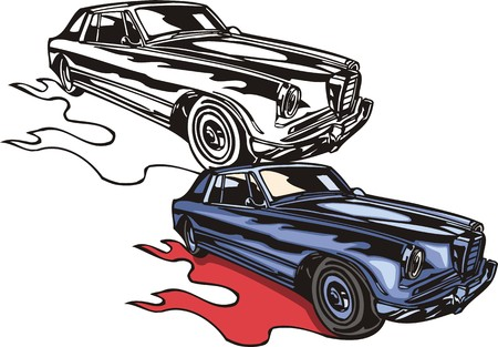 ridge: The violet car with a ridge bumper. Flaming hotrods.  illustration - color   bw versions.