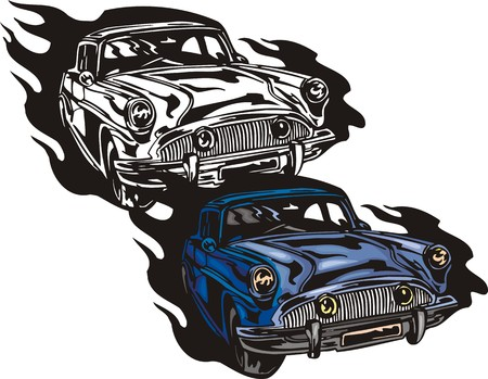street rod: The dark blue car of mark  Illustration