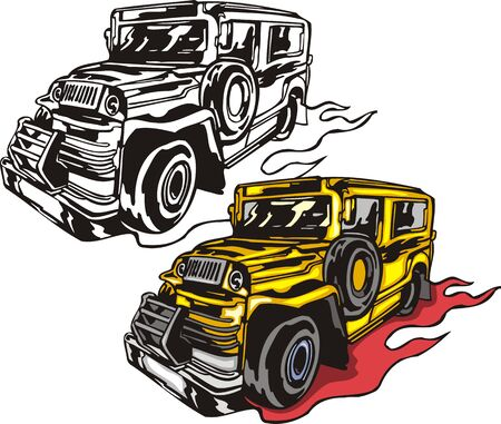 The yellow bus with the big steel bumper. Flaming hotrods.   illustration - color   bw versions. Vector