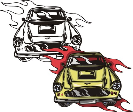 cowl: The racing car with round headlights. Flaming hotrods.  illustration - color   bw versions.