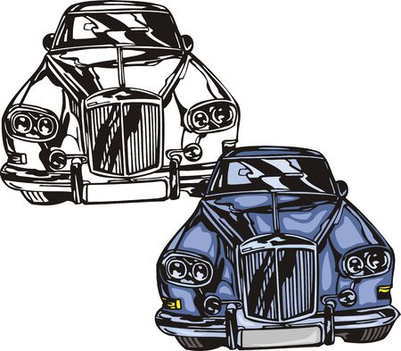 ridge: The dark blue car with a ridge bumper. Flaming hotrods.   illustration - color   bw versions. Illustration