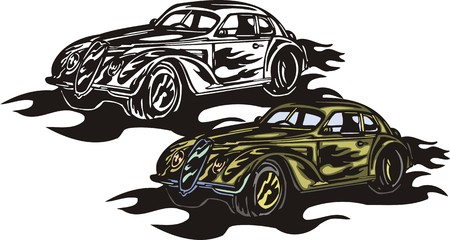 The green car with black fiery vinyl. Flaming hotrods.  illustration - color   bw versions. Vector