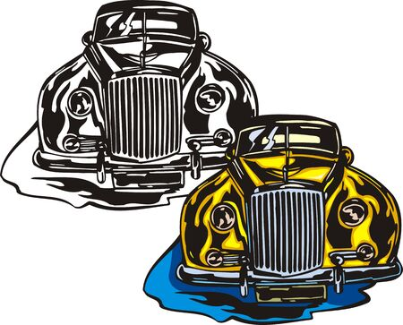 ridge: The yellow car with a ridge bumper. Flaming hotrods.   illustration - color   bw versions.