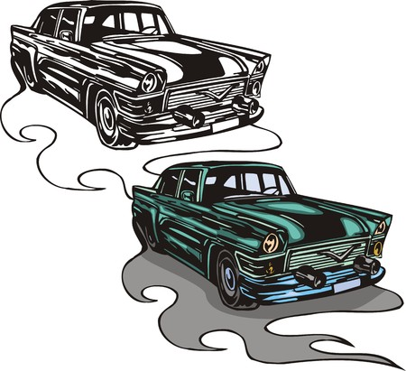 drag: Passenger four-seater of blue colour. Flaming hotrods.  illustration - color   bw versions.