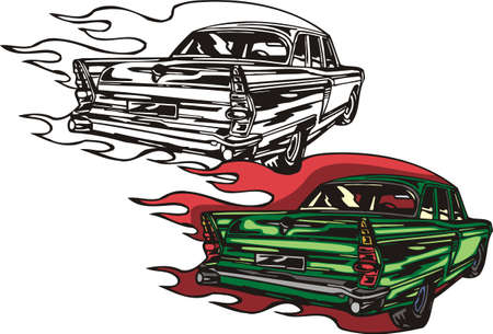 The green car with red and yellow headlights. Flaming hotrods.   illustration - color   bw versions. Vector