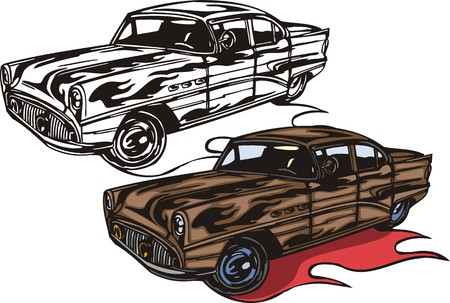 headlights: The brown car with round headlights. Flaming hotrods. illustration - color   bw versions.
