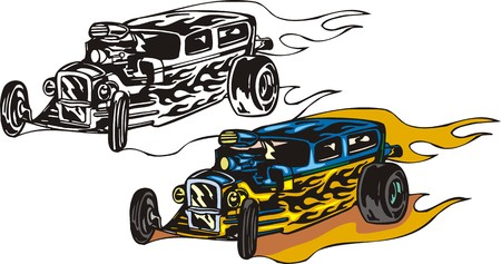 hotrod: The blue car with yellow vinyl and the big rear wheels. Flaming hotrods  illustration - color   bw versions. Illustration