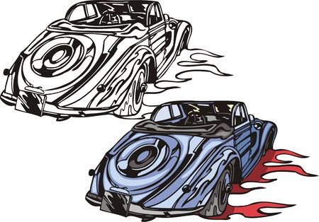 The blue car without top with a spare wheel. Flaming hotrods.   illustration - color   bw versions. Vector
