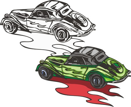 The green car with a spare wheel. Flaming hotrods. illustration - color   bw versions. Vector
