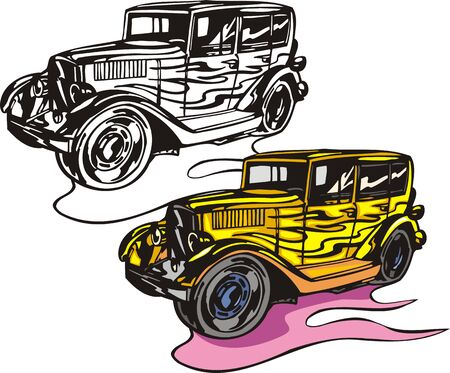 The four-seater yellow car. Flaming hotrods.  illustration - color   bw versions. Vector