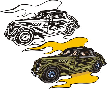 The green car on yellow fire. Flaming hotrods.  illustration - color   bw versions. Vector