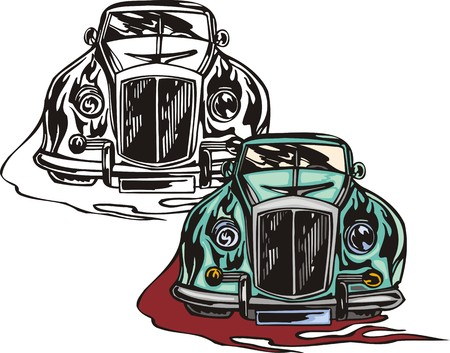 ridge: The blue car with a ridge bumper. Flaming hotrods.  illustration - color   bw versions. Illustration