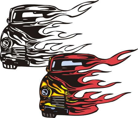 street rod: The yellow car half on fire. Flaming hotrods.  illustration - color   bw versions. Illustration