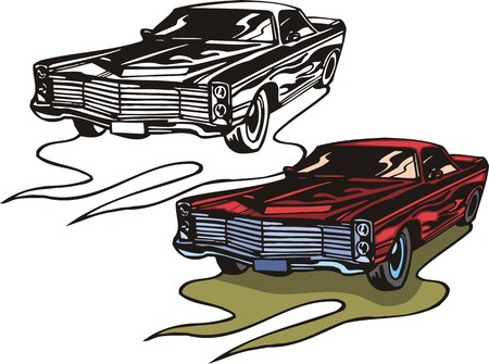 The red gangster car. Flaming hotrods.   illustration - color   bw versions. Vector