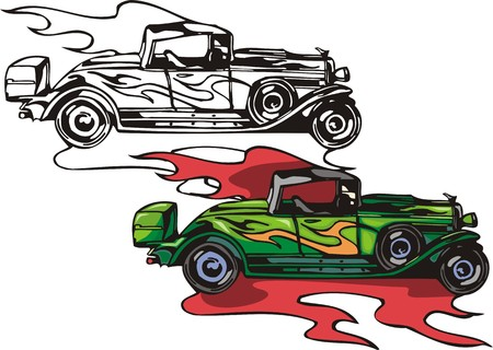 The ancient green car with square top and a spare wheel. Flaming hotrods.  illustration - color   bw versions. Vector