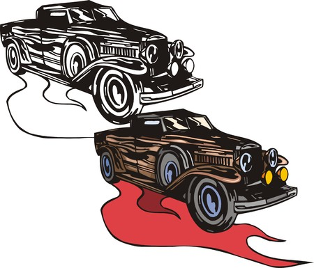 spare: The brown car with a spare wheel. Flaming hotrods.  illustration - color   bw versions.