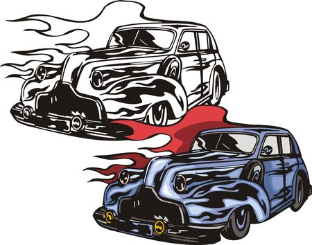 The blue car with the big rims and a spare wheel. Flaming hotrods.   illustration - color   bw versions. Vector