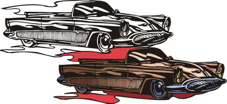 ridge: Brown the car with ridge sides. Flaming hotrods. illustration - color   bw versions.