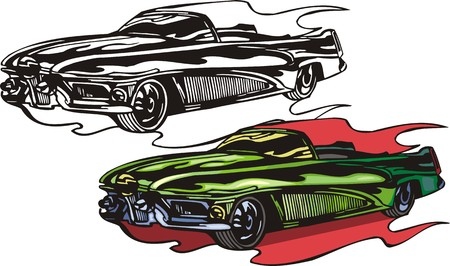 The green car without top. Flaming hotrods. illustration - color   bw versions. Vector