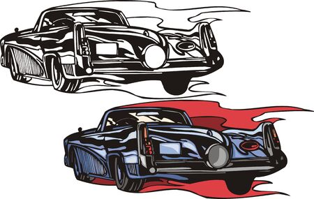 headlights: The blue car without top with red and orange headlights. Flaming hotrods.   illustration - color   bw versions.