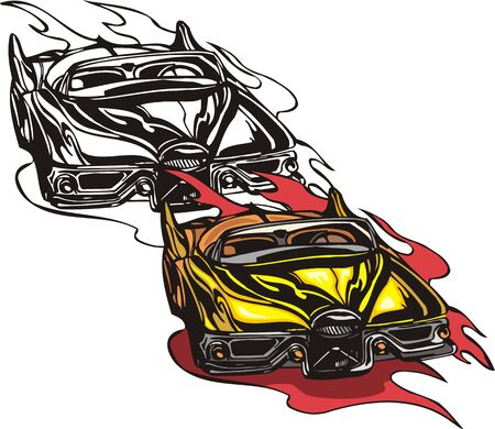 figured: The yellow car without top with a figured bumper. Flaming hotrods.   illustration - color   bw versions.