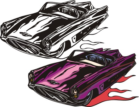 The violet car without top. Flaming hotrods. illustration - color   bw versions. Vector