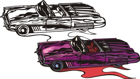 The violet two-place car with folding top. Flaming hotrods.  illustration - color   bw versions. Vector