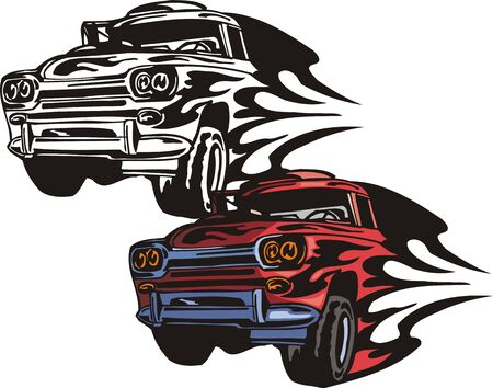 Body of the lorry with dark blue strips. Flaming hotrods.  illustration - color   bw versions. Vector
