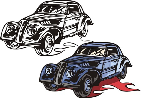 cowl: The blue car with a triangular cowl. Flaming hotrods.  illustration - color   bw versions.