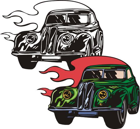 The green car with the big wheels. Flaming hotrods. illustration - color   bw versions. Vector