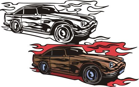 circular muscle: The brown racing car with black vinyl. Flaming hotrods.  illustration - color   bw versions.