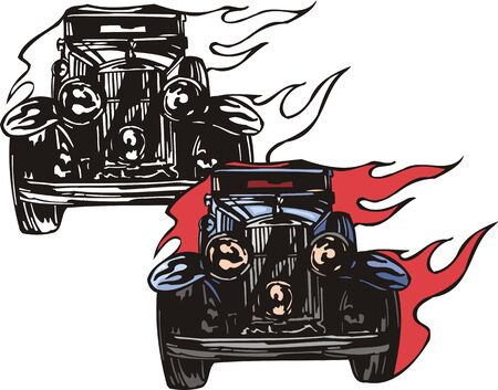 convex: The ancient dark blue car with three round convex headlights. Flaming hotrods.  illustration - color   bw versions.