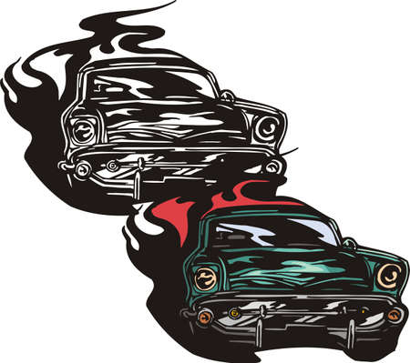 The blue car with a figured bumper. Flaming hotrods.   illustration - color   bw versions. Vector