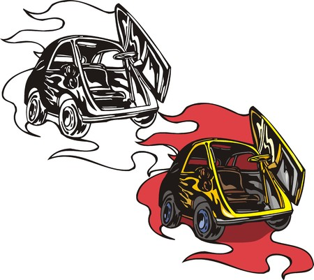 The yellow car of the unusual form with a front door. Flaming hotrods.   illustration - color   bw versions. Vector
