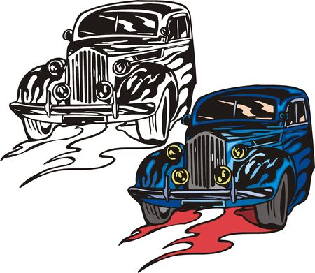 ridge: The dark blue car with a ridge bumper. Flaming hotrods.  illustration - color   bw versions.