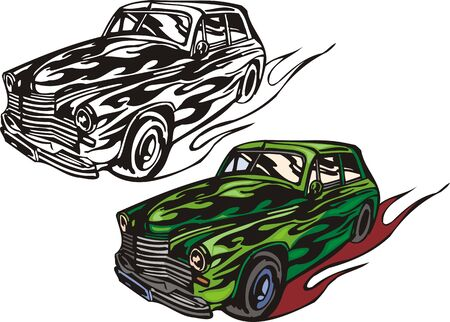 ridge: The green car with a ridge bumper. Flaming hotrods. illustration - color   bw versions.