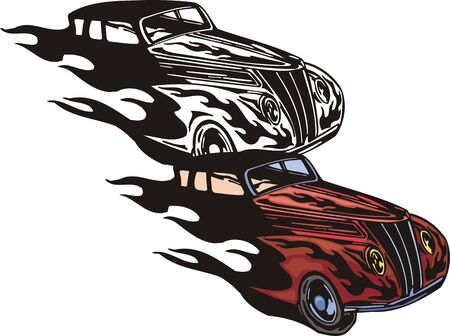 Front part of the red car. Flaming hotrods. illustration - color   bw versions. Vector