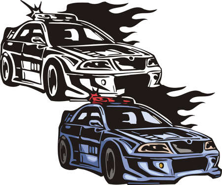 The blue car with a red flasher. Flaming hotrods.  illustration - color   bw versions. Vector