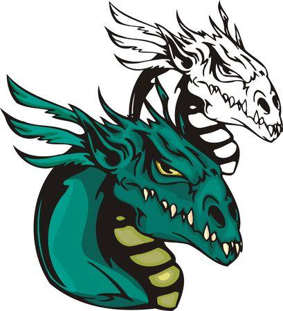 battle evil: Dragons.illustration ready for vinyl cutting. Illustration