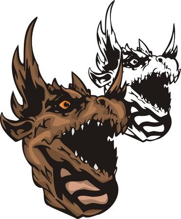 battle evil: Dragons.Vector illustration ready for vinyl cutting. Illustration