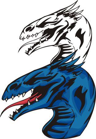Dragons.illustration ready for vinyl cutting. Vector