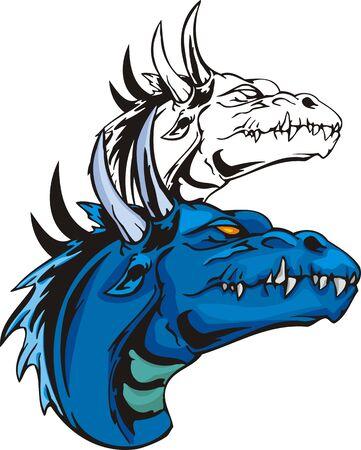 gargouille: Dragons.illustration pr�te pour la d�coupe de vinyle.