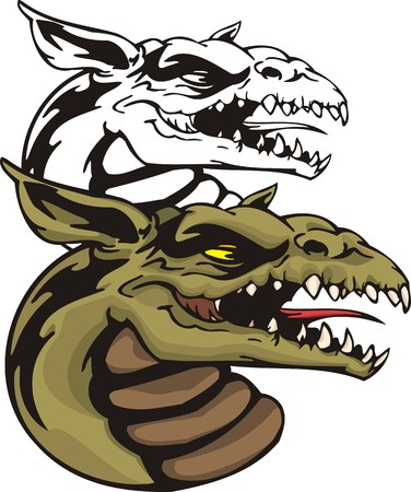 gargoyle: Dragons.Vector illustration ready for vinyl cutting. Illustration