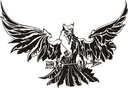 the air attack: Eagle - predatory bird. illustration. Ready for vinyl cutting.
